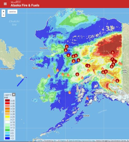 This MesoWest maps shows the active fires burning in Alaska and the Fire Weather Index (FWI) levels for the state. The FWI is a numeric rating of fire intensitiy and combines the Initial Spread Index (expect rate of spread) and Buildup Index (total amount of fuel available for combustion) and is a suitable as a general index of fire danger throughout the forested areas. It represents the intensity of a spreading fire.