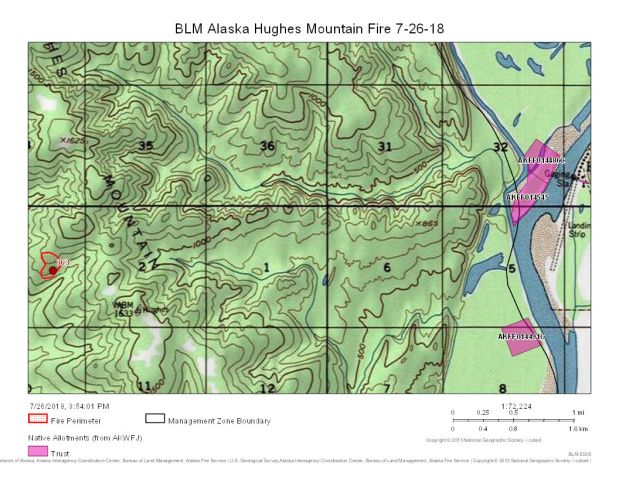 The Hughes Mountain Fire (#363) is burning in steep terrain on the Hughes Mountain about four miles west of the village of Hughes.