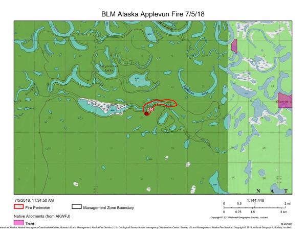 Map of Applevun Fire on July 5, 2018