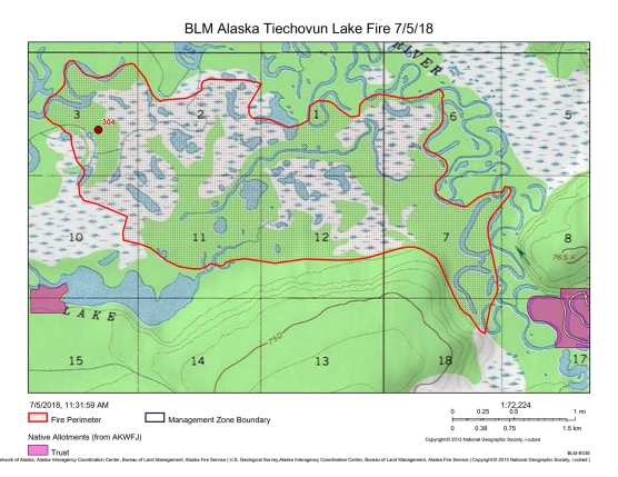 Map of Tiechovunk Lake Fire on July 5, 2018