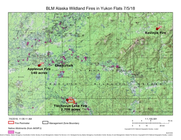 Map showing the Applevunk Fire, Tiechovunk Lake Fire and Kevinjik Fire in relation to Chalkyitsik on July 5, 2018.