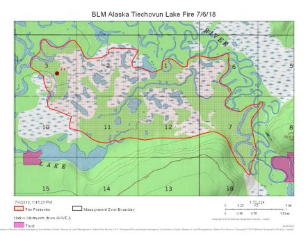 Map of Tiechovun Lake Fire burning south of Chalkyitsik on July 6, 2018.