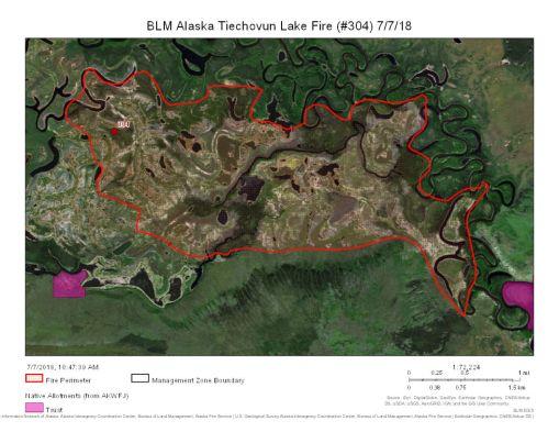 Map of Tiechovunk Lake Fire.
