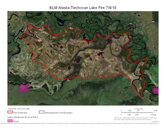 The 2,709-acre Tiechovunk Lake Fire is burning about 16 miles south of Chalkyitsik.