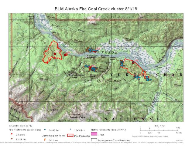 Firefighters are assessing structure protection measures to put in place for 91 structures littered throughout the a historic mining area in the Yukon-Charley Rivers National Preserve about 57 miles northwest of Eagle.
