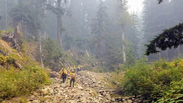 The Kobuk River #2 Crew working on a fire in the Lower 48 this summer.