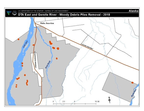 Map of burn piles slated for burning starting as early as Friday. The burn piles are located south of Delta Junction.