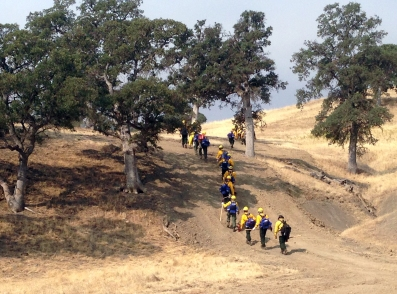 Photo of the Mooseheart Mountain crew on the Mendocino Complex in California this summer.