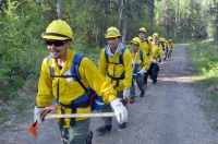 Photo of rookie firefighters learning to organize as a crew during BLM AFS rookie school in May 2016.