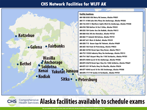 Map of network of facilities where medical exams are available upon request.