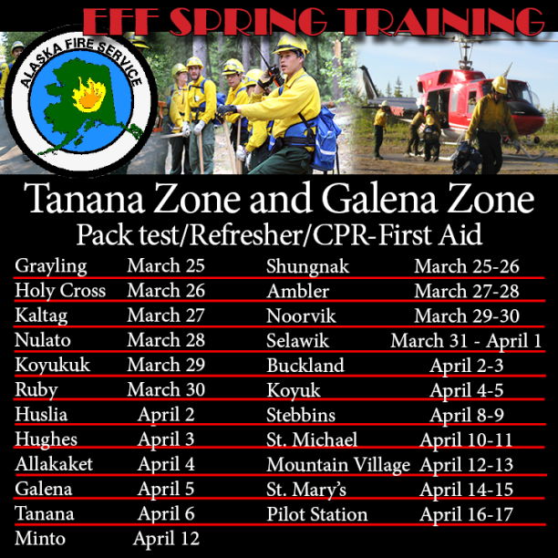 Schedule of training for EFF in Tanana and Galena Zone villages.