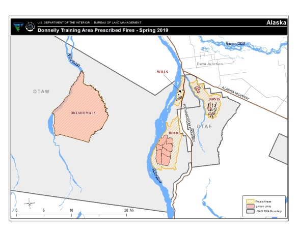 Map of areas for plan prescribed fire operations in the Donnelly Training Area.