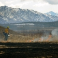 Photo of a firefighter using a drip torch to light grass on fire to burn off dead grass on military lands in the Donnelly Training Area in April 2016.