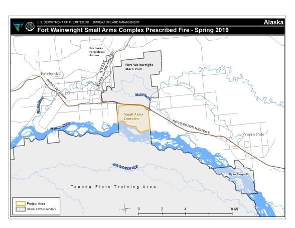 Map of Fort Wainwright Small Arms Complex where BLM Alaska Fire Service and U.S. Army Alaska will implement a prescribed burn plan starting as early as April 18, 2018,