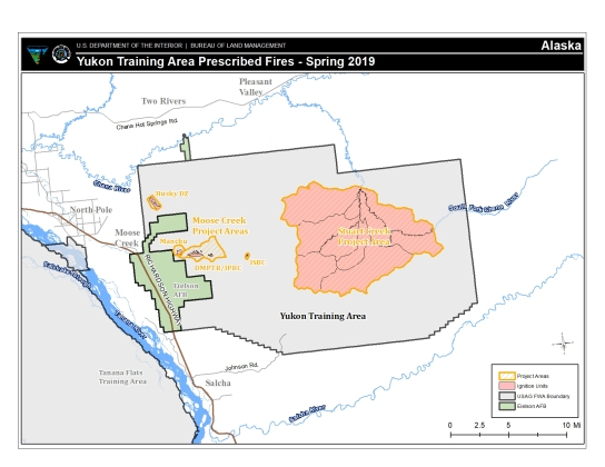 Map of Yukon Training Area where prescribed burn operations will take place starting as early as Sunday, April 10, 2019.