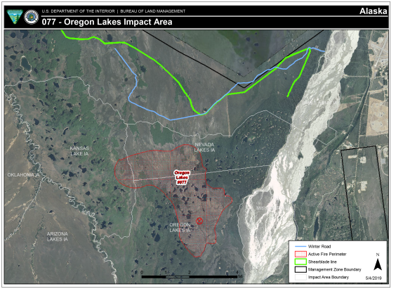 Map of Oregon Lakes Impact Area Fire perimeter as of May 4, 2019.