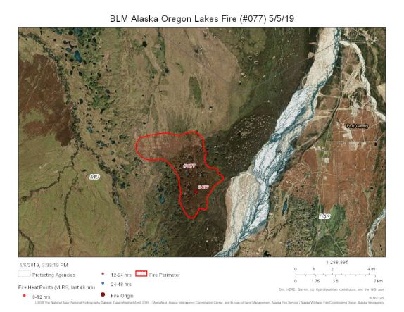 Map of the area where the Oregon Lakes Fire is burning on the Donnelly Training Area about 11 miles south of Delta Junction on May 5, 2019.
