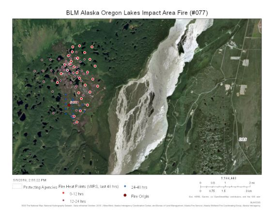 Map of The Oregon Lakes Impact Area Fire (#077) is burning mostly in a 2013 burn on the west side of the Delta River southwest of Fort Greely.