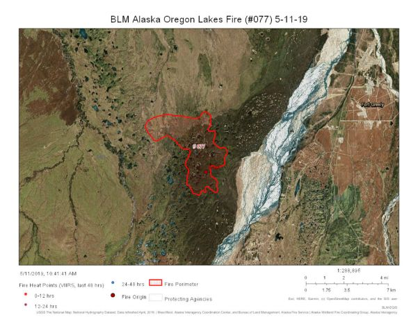 The map for the Oregon Lakes Fire from May 11, 2019 shows no growth in the fire area for the past few days.