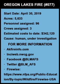 Graphic with May 13, 2019 fire statistics.