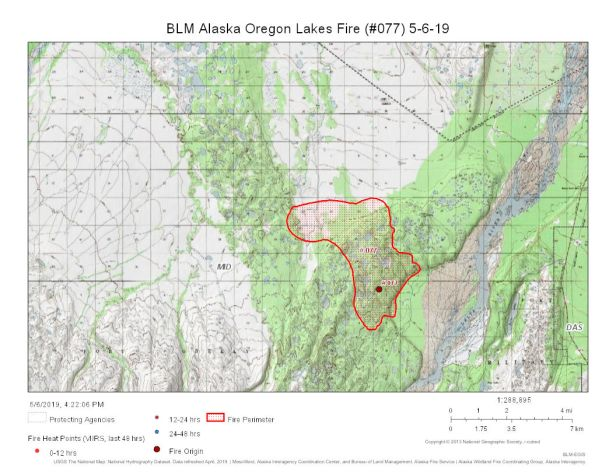 Map of Oregon Lakes Fire burning about 11 miles south of Delta Junction on May 6, 2019.