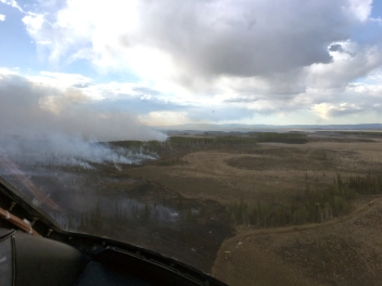Photo of the Oregon Lakes fire as it pushed west of the Douglas Creek on May 15, 2019.