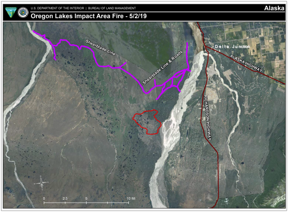 Map of area where the Oregon Lakes Impact Area Fire is burning.
