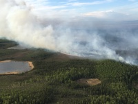 Oregon Lakes Fire was active on the west flank on the Kansas Lake Impact Area on May 20, 2019. Photo by Karen Scholl, Alaska Interagency Incident Management Team