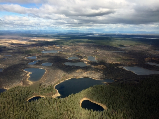 In this photo, Lakes dot the landscape where the Oregon Lakes Fire is burning on May 8, 2018. Winds kicked up dust from the Tanana River river bed near Delta Junction as seen in the far distance. Photo by Isaiah Fischer, BLM AFS