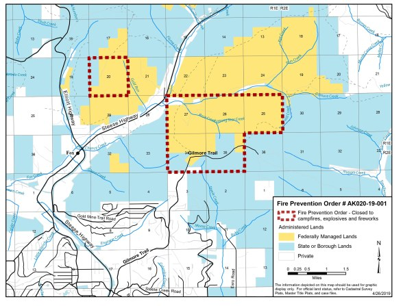 Fire prevention order map shows affected federal lands in two blocks of land northeast of Fairbanks, Alaska. One block is immediately north of Gilmore Trail, and the other is across the Steese Highway several miles to the northwest near the headwaters of Gold Run. Roads, creeks, and private and State of Alaska land are also depicted.