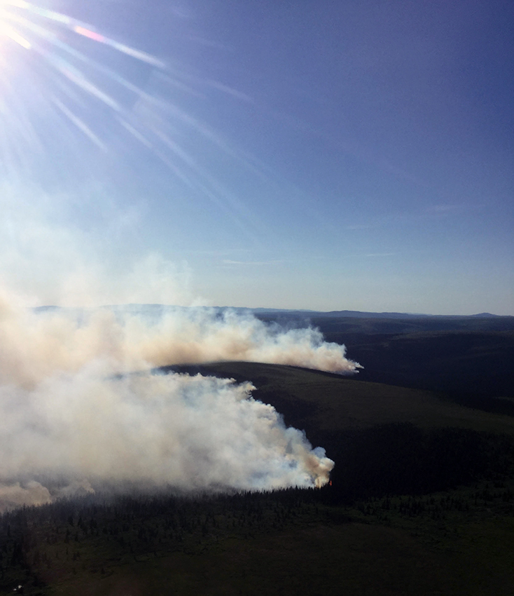 Photo of the 12,000-acre North River Fire burning 35 miles northeast of Koyuk on June 14, 2019.