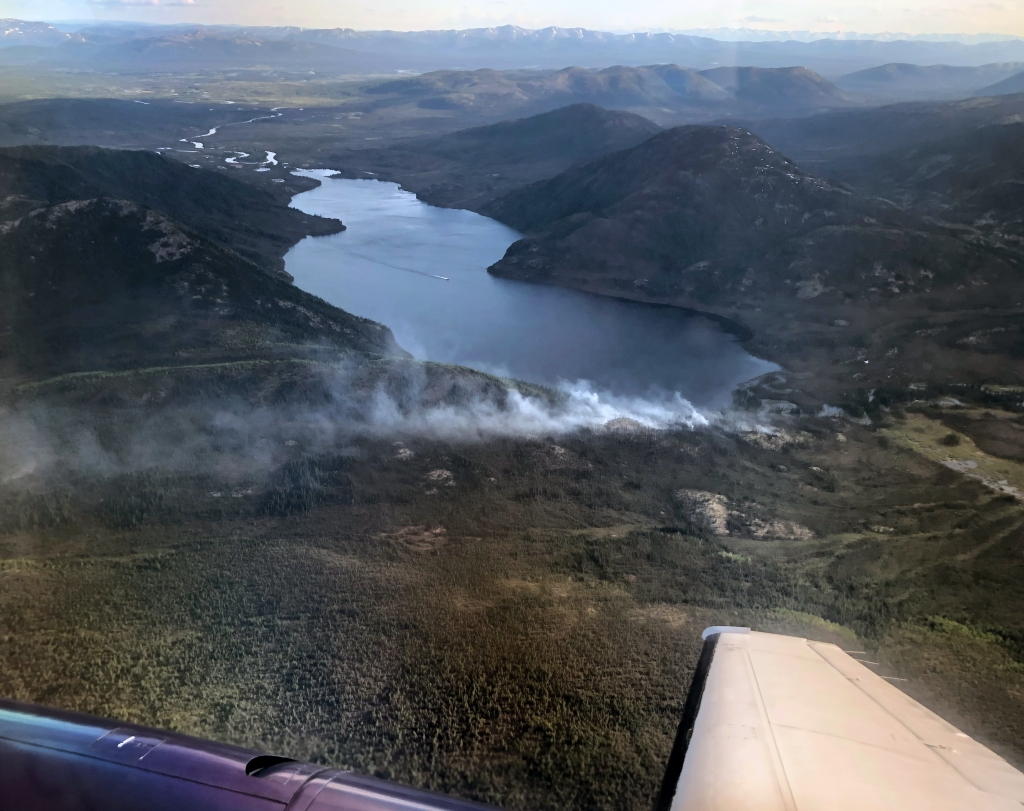 Photo of the the Lake Minakokosa Fire (#221), burning 50 miles east of Kobuk in this photo dated June 10, 2019.
