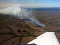 Photo of the Kuyukutuk Fire (#224) is burning in tundra about 17 miles north of Russian Mission and Marshal on June 10, 2019. It is estimated to be 15 acres in size.