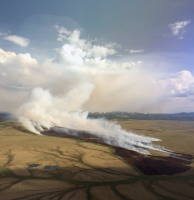 Photo of the roughly 700-acre Koyukutuk River Fire (#224) burning north of Russian Mission.