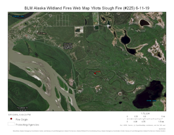 Map of Yllota Slough Fire burning southeast of Fort Yukon on June 11, 2019.