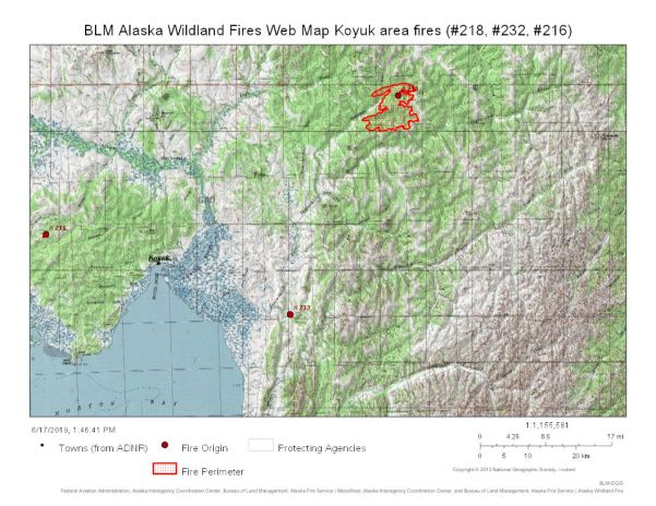 Map of Koyuk area fires to include 82-mile Inglutalik River (#232) Fire, the 21-acre Darby Mountain Fire (#216), and the 32,500-acre North River Fire.
