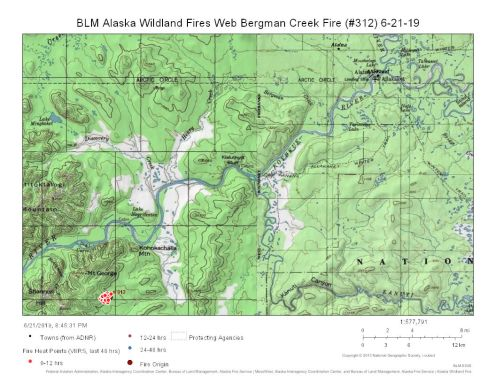 Map of Bergman Creek Fire burning south of Allakaket on June 21, 2019.