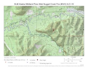 Map of Nugget Creek Fire south of 30 mile Chena Hot Springs Road on June 21, 2019.