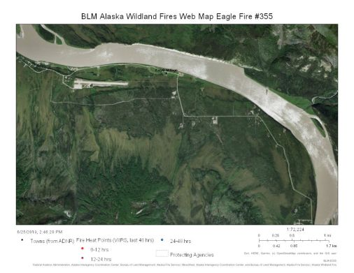 Map of Eagle Fire burning on a steep bank of the Yukon River across from Eagle Village on June 26, 2019.