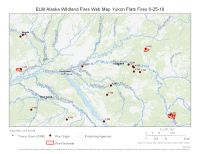 Map of Yukon Flats area fires on June 25, 2019.