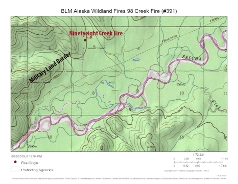 Map of Ninetyeight Creek Fire near the Salcha River on June 26, 2019.