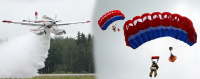 Graphic showing Fire Boss aircraft dropping water and Alaska smokejumpers during a training jump.