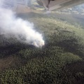 A photo of the Hayes Creek Fire (#301) taken by smokejumpers prior to deploying on the fire approximately 20 miles northwest of Fairbanks on Thursday, June 20, 2019. Photo by Chris Dudley/Alaska Smokejumpers