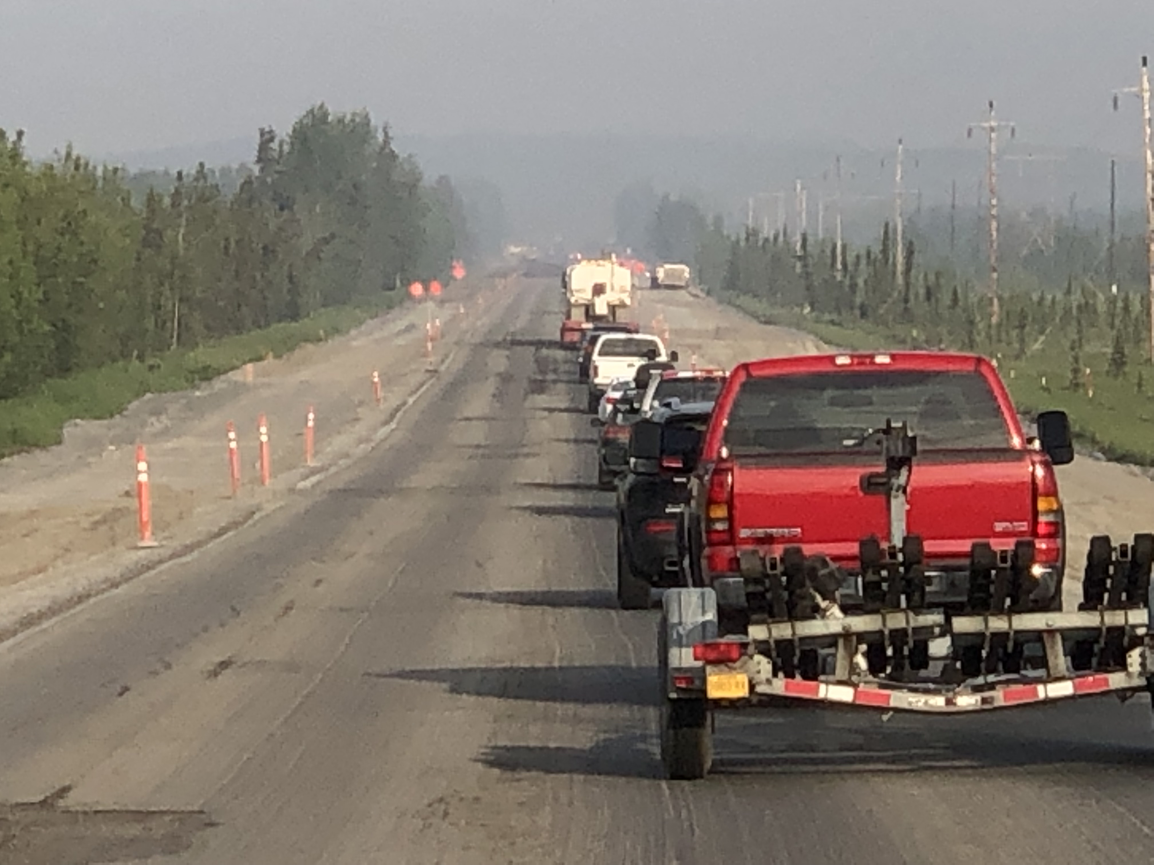 June 22nd 7am traffic on the Sterling Highway was moving at the normal pace through the construction corridor milepost 60-72. Photo Alaska Incident Management Team
