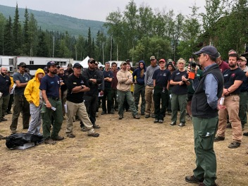 Division of Forestry Agency Administrator Tim Dabney reminds fire personnel that public and firefighter safety are the highest priority. Photo credit: Kale Casey/Alaska Incident Management Team