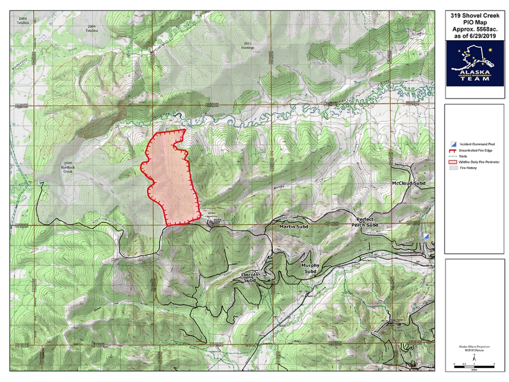 June 30th Map of the Shovel Creek Fire. Fire crews are holding the south and southwest corner, while hot and dry winds push fire growth to the north and northeast.