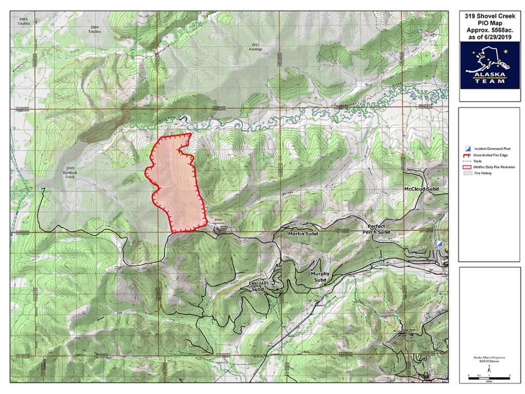 June 30th Shovel Creek Fire map.