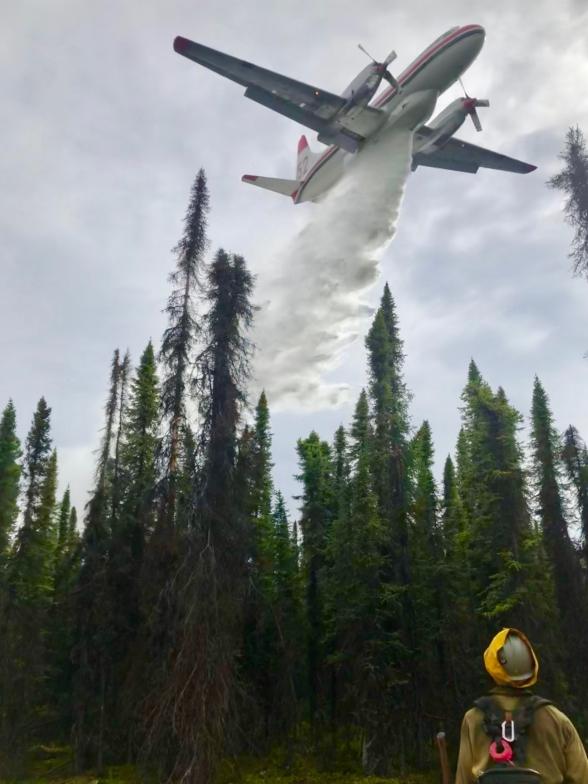 Hotshot Crew, Pioneer Peak coordinating water drops with aircraft.