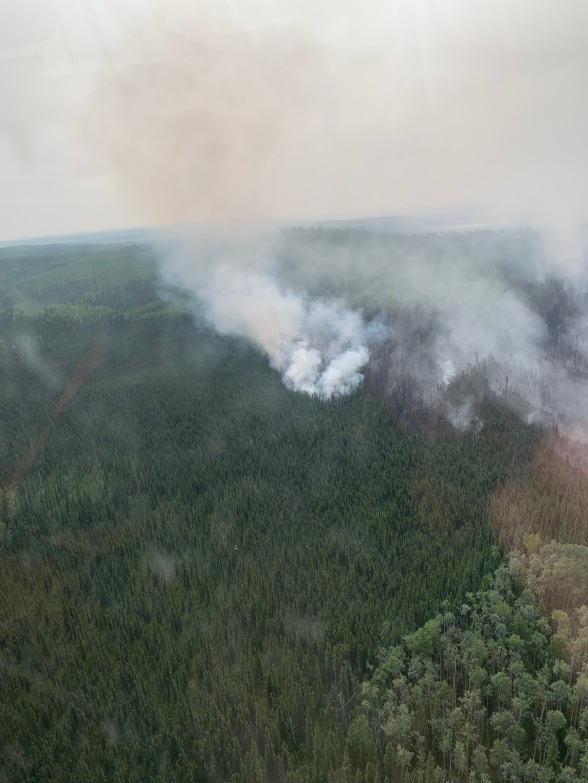 Smoke from the Rainbow 2 Fire today, burning near Delta Junction.