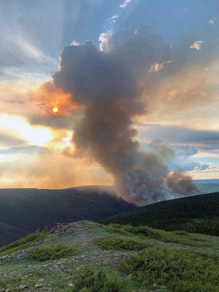 A photo of smoke from the Shovel Creek Fire taken Friday night, June 21, 2019. Photo by Isaac Solomon/Alaska Division of Forestry